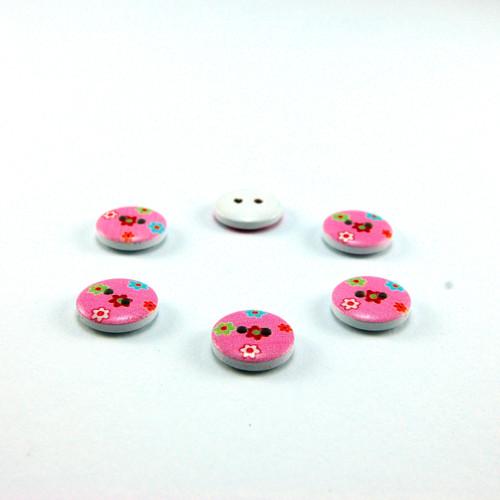 dřevěný knoflík růžový 15 mm - 5 ks