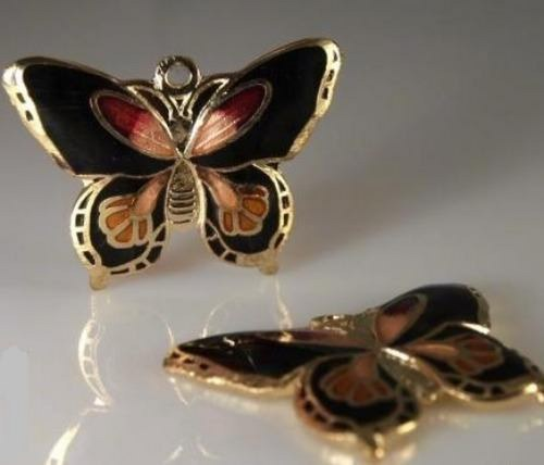 Přívěsek CLOISONNE motýlek 28x20mm černý