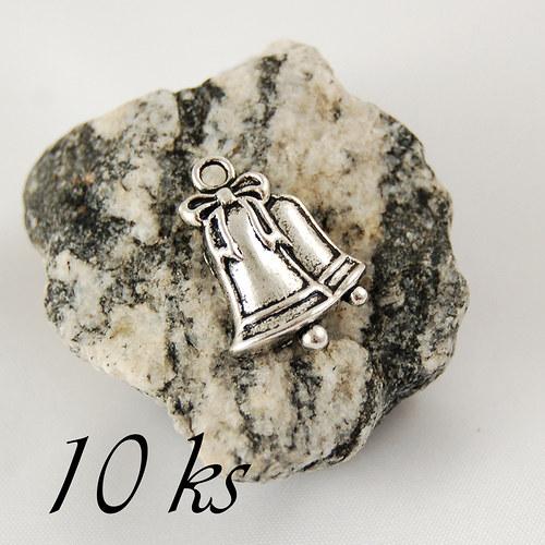 Zvonečky, stříbrná barva - 10ks