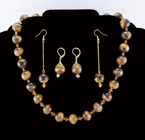 Spr náhrdelník + 2 náušnice - tygří oko, Swarovski