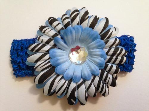 Elastická čelenka s květem na klipu - modrá