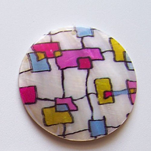 Perleťové malované kolečko tlustší, 5 cm, Geom