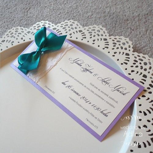 svatební oznámení s krajkou_fialová+tyrkys