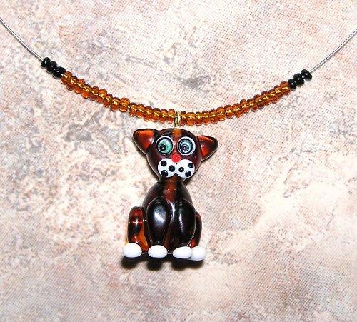 Náhedelník - hnědá kočka - vinutá perle