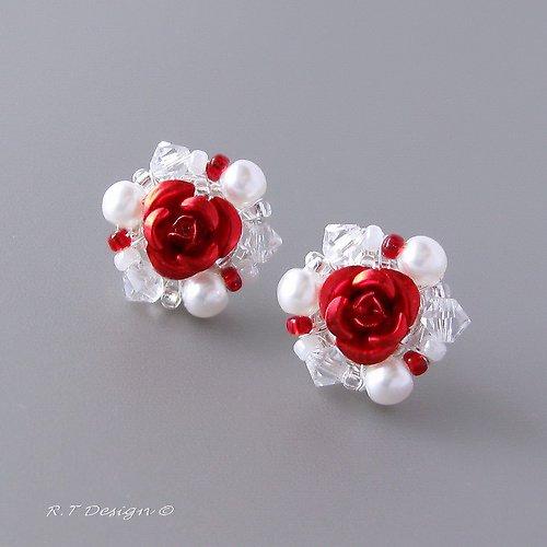 Náušničky Red Rose...