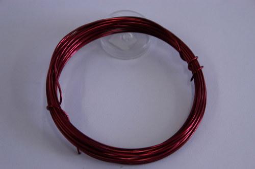 Měděný drátek 1mm - bordo, návin 3,8-4m