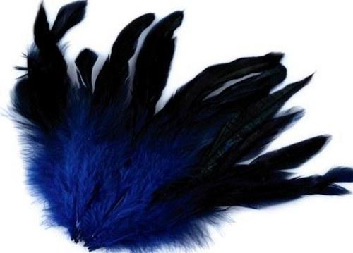 Modré slepičí peří 10ks