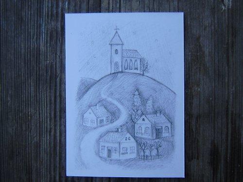 Obrázek vesničky - přáníčko či svícínek