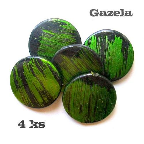 Žíhaná zelená kolečka - 4 ks