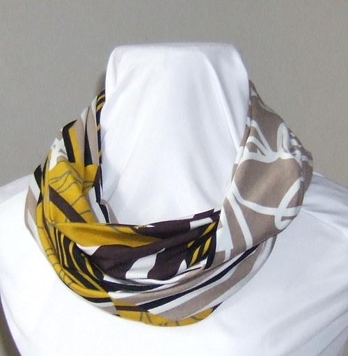 Nekonečná šála s abstraktním vzorem zlato hnědým