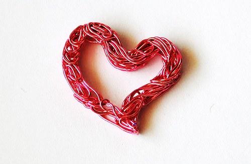 Srdíčko z drátu - růžové