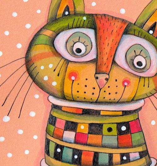 5 koček a jeden lišák...vánoční visačky - sada