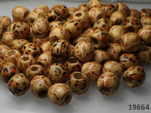 19662 Dřevěné korálky 11/12mm SVĚTLÝ MIX, bal.10ks