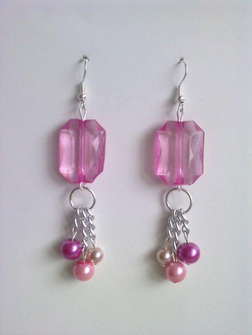 "Kolekce *Elegant pink* - naušnice \""Sweet pink\"""
