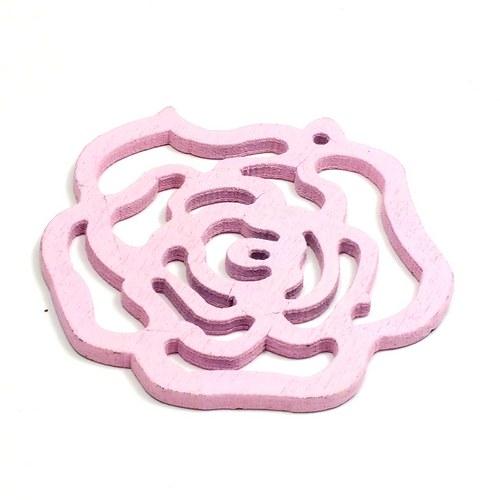Dřevěný přívěsek - růžová růže