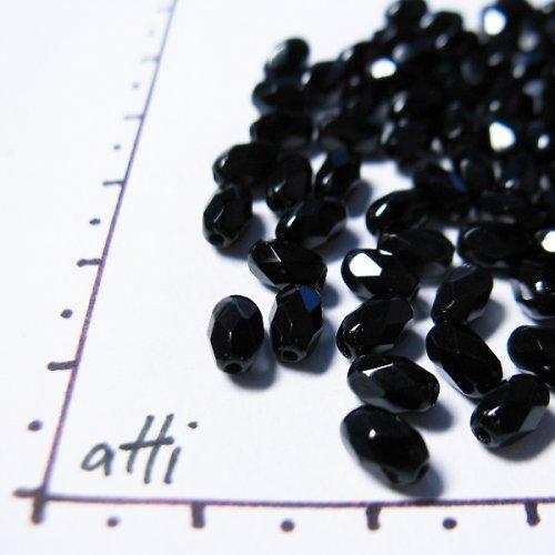 Broušené olivy 6 x 4 mm černé 40 ks