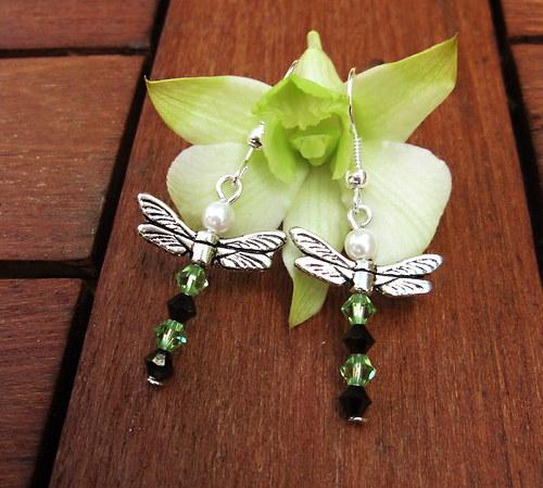 Vážkové náušnice - zelené II