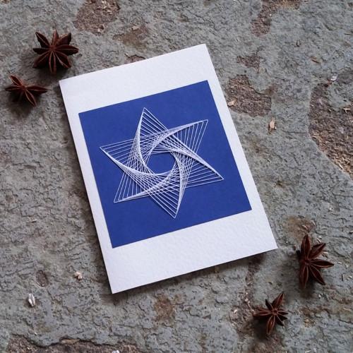 vyšívané přání Hvězda I - modrobílá