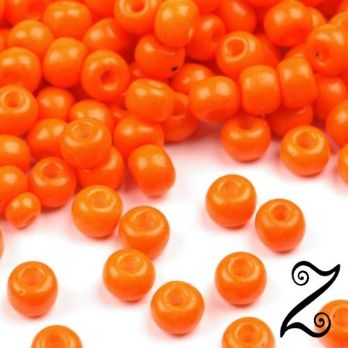 Rokajl, skleněný, oranžová, 4mm, 20g