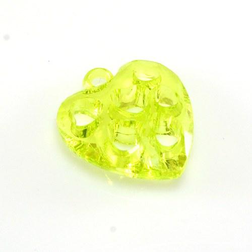 Srdce žlutozelené- plastový přívěsek 26x25 mm,1 ks