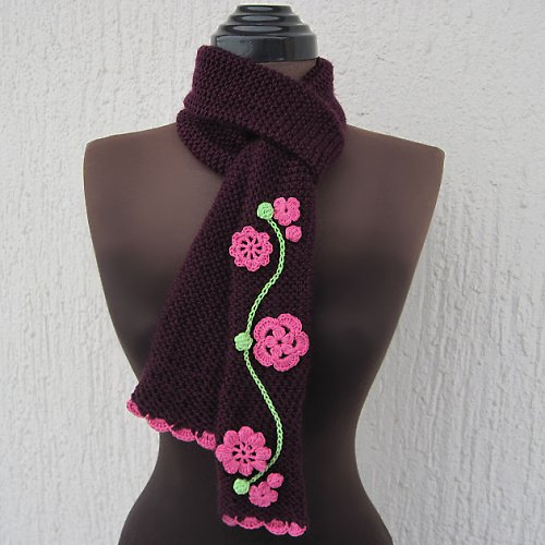 Pletená šála - do soupravy k čepici