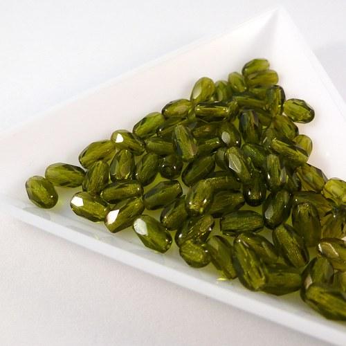 Broušené olivy 6 x 4 mm olivínové 40 ks