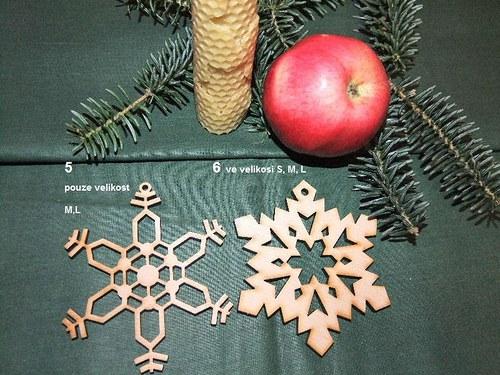Vánoční dřevěné ozdoby VLOČKY 5 a 6/velikost L