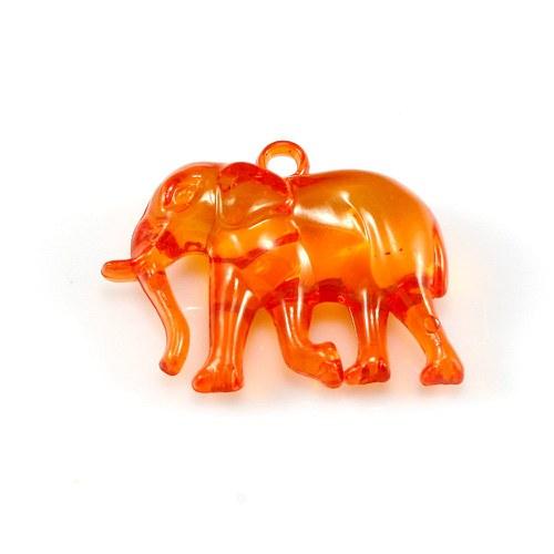 Pomerančový slon - plastový přívěsek, 32x26 mm