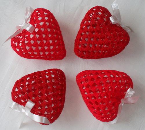 Trojrozměrné srdce - tmavě červené