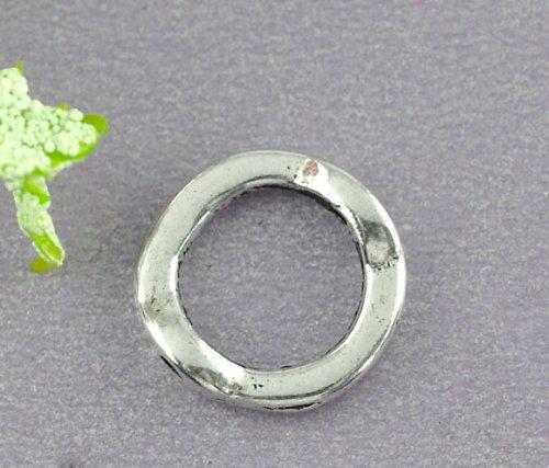 rámeček na korálek kruh/ ant. stříbro/ 4ks