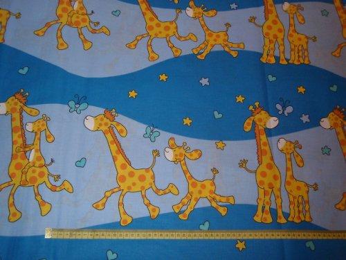 19101 Látka modré žirafy ATEST DĚTI á 0,5m