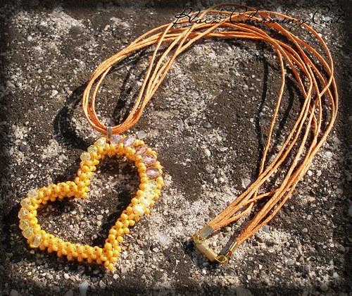 SLEVA - Mé srdce patří oranžové - náhrdelník