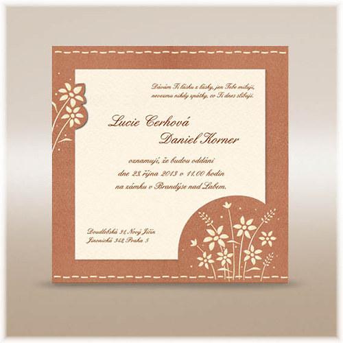 Svatební oznámení se zlatým ornamentem