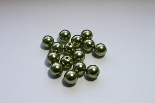 Voskové perle 8mm, zelené - 50ks