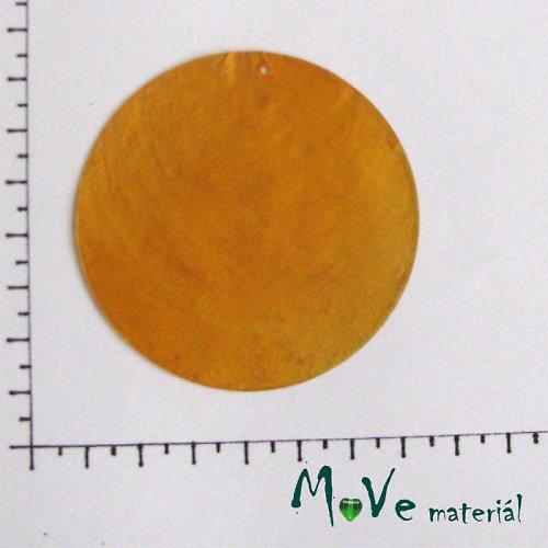Přívěsek Ø65mm perleťová placka 1ks sv. oranžová