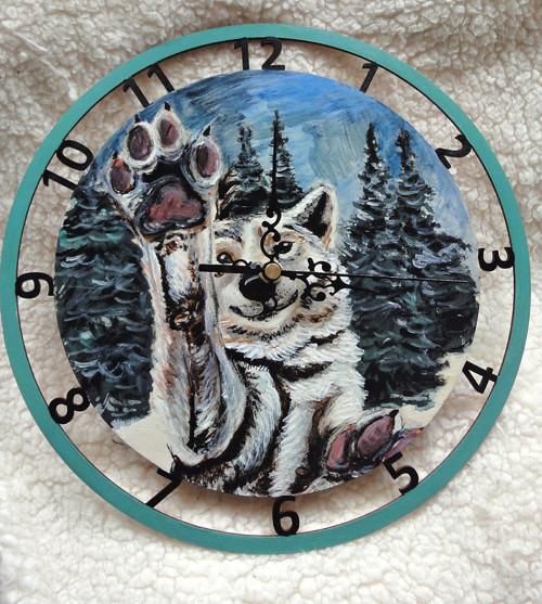 Malované hodiny - ZIMNÍ RADOVÁNKY