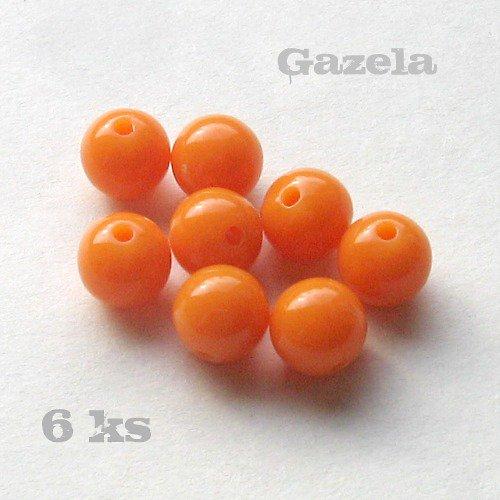 Korálek plastový oranžový - 6 ks