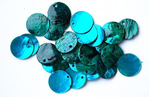 perleťové kolečka tyrkysová 1-2cm