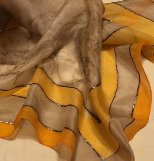 Béž-oranž šátek 55 x 55