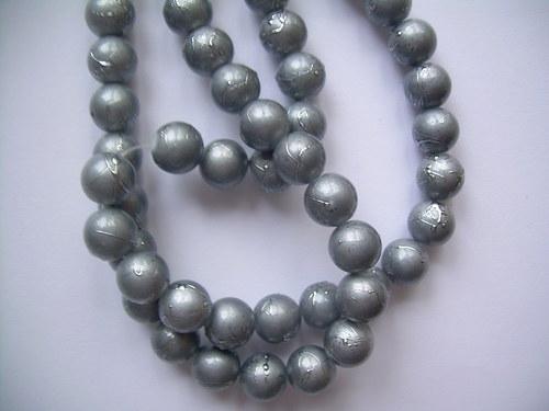 Korálky Ø10mm metalízované šedivá - 10 ks