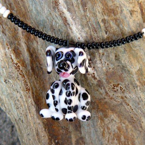 Náhrdelník pes DALMATIN - vinutá perle