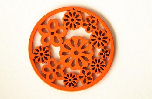dřevěná kolečka- oranžová