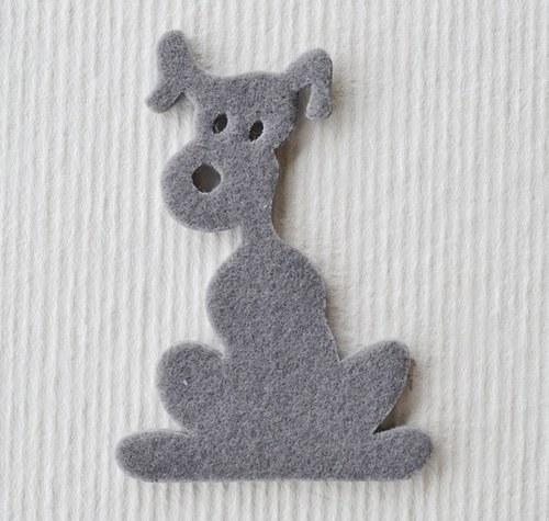Výsek z plsti -  pes šedý