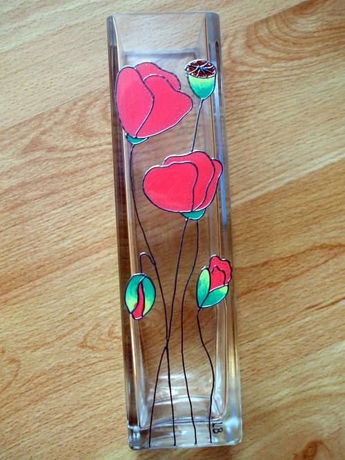 Skleněná váza - vlčí máky