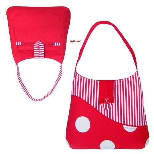 kabelka - taška oboustranná červená