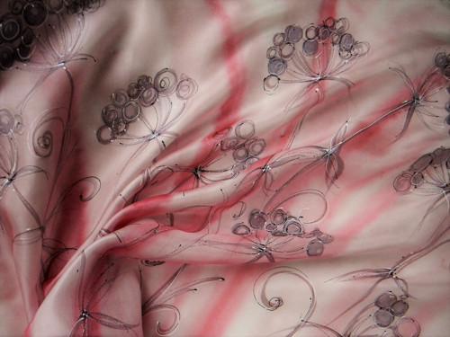 Jeřabiny / hedvábný šátek 75 x 75 cm/