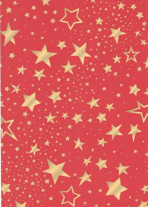 Fotokarton A4 hvězdy mix červené