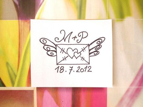 Svatební obálka s iniciály... Omyvatelné razítko.
