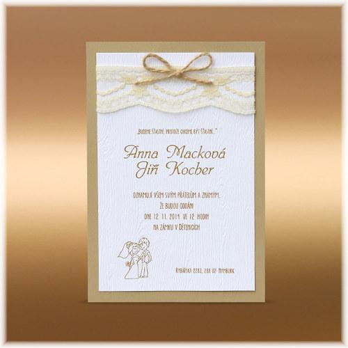 Přírodní svatební oznámení s krajkou