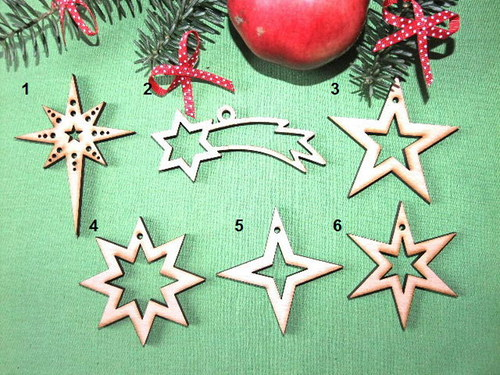 Vánoční dřevěné ozdoby HVĚZDY - 6 druhů - L